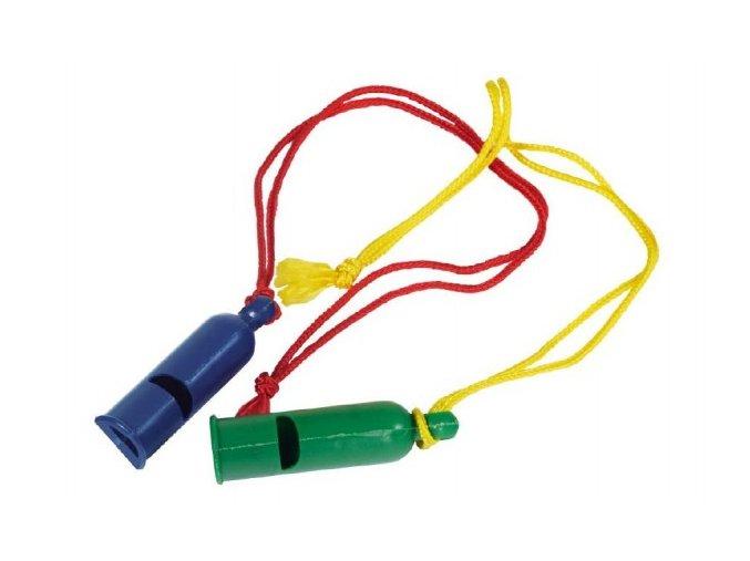 Plastová píšťalka se šňůrkou pro děti