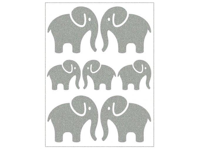 Reflexní nažehlovacky na oblečení, sloni