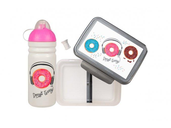 set donuty  Zdravá lahev® a box na svačinu Zdravá sváča