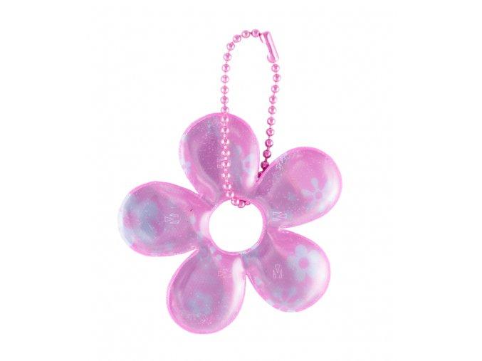 Reflexní přívěsek růžová květina