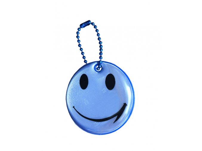 Reflexní přívěsek modry smajlik