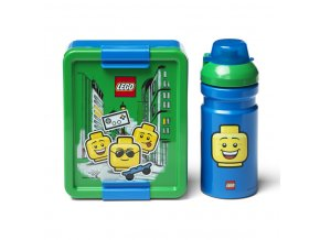 LEGO ICONIC Boy svačinový set (láhev a box) - modrá/zelená