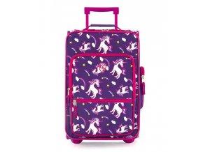 Dětský textilní kufr HEYS Jednorožci, fialový