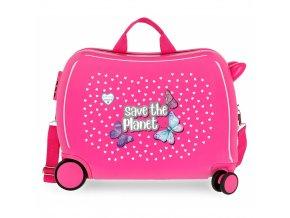 Dětský kufřík na kolečkách, odrážedlo růžový s motýlky 01