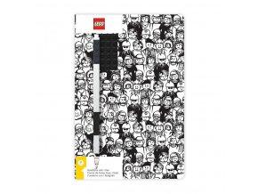 LEGO Stationery Zápisník A5 s černým perem - Minifigure Brick