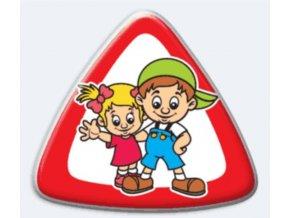 Samolepka trojúhelník 3D Dítě v autě - sourozenci