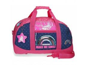 Sportovní taška Movom Glitter Rainbow duha růžová