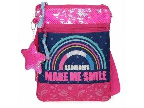 Movom Glitter Rainbow Flat Taška přes rameno růžová duha