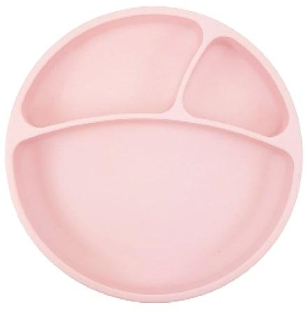 Tanier delený silikónový s prísavkou - Pink
