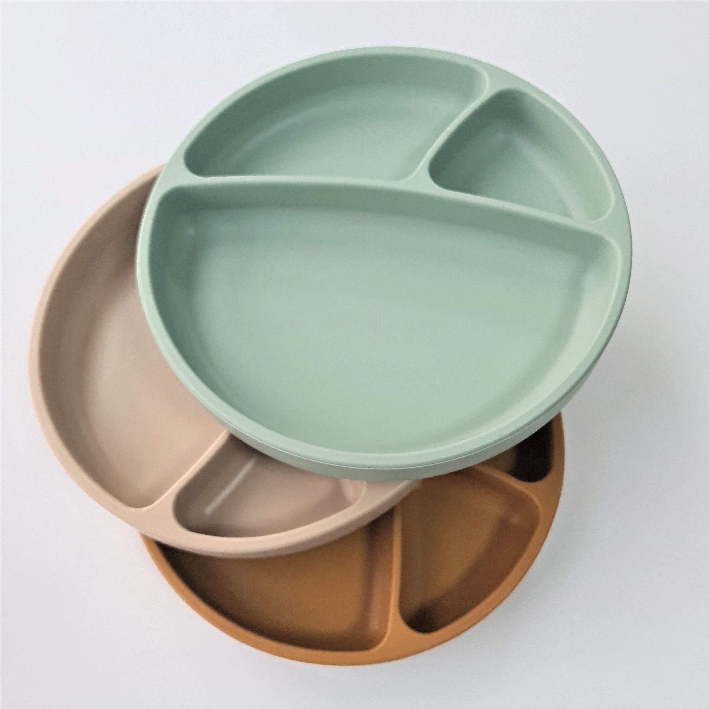 Tanier delený silikónový s prísavkou - Bubble Beige