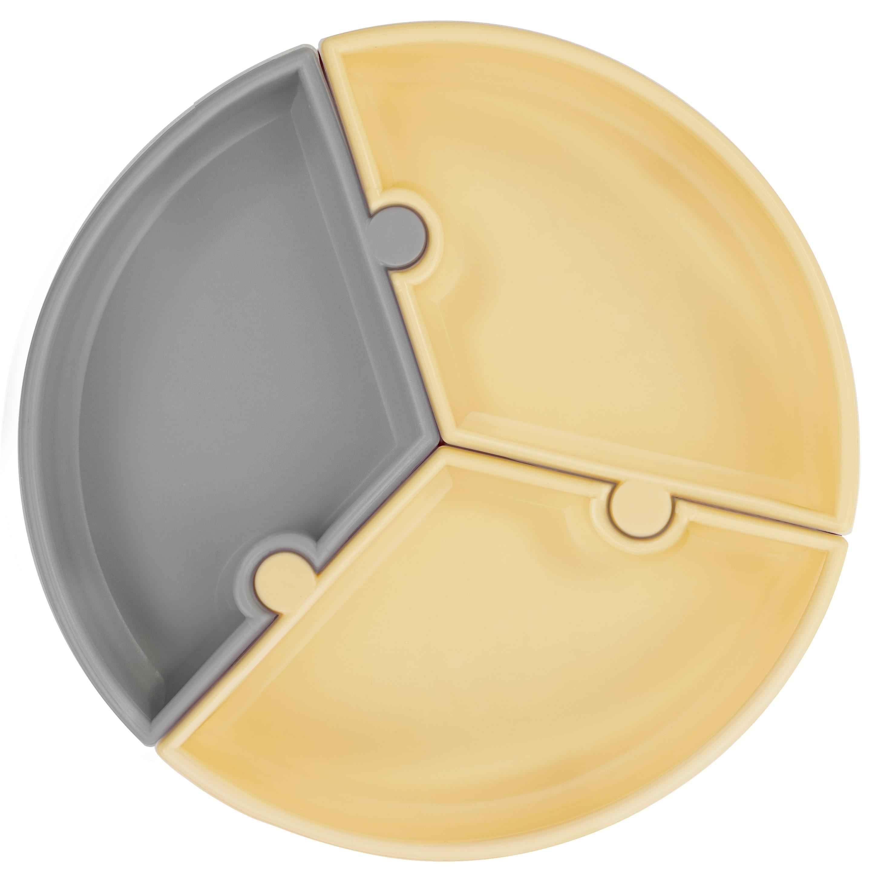 Tanier Puzzle silikónový s prísavkou - Grey / Yellow