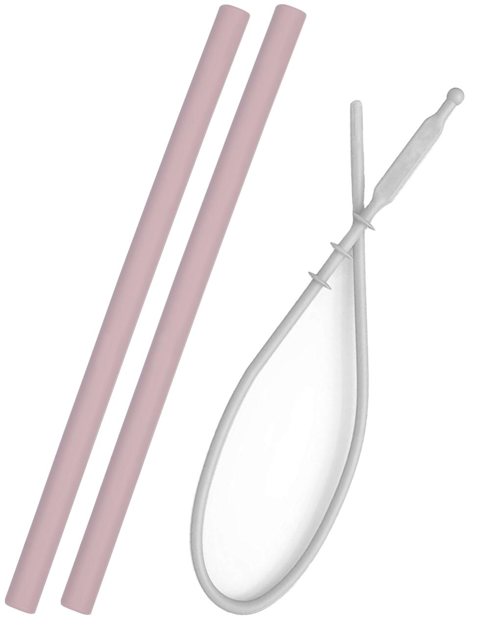 Slamka silikónová - 2ks s kefkou - Pink