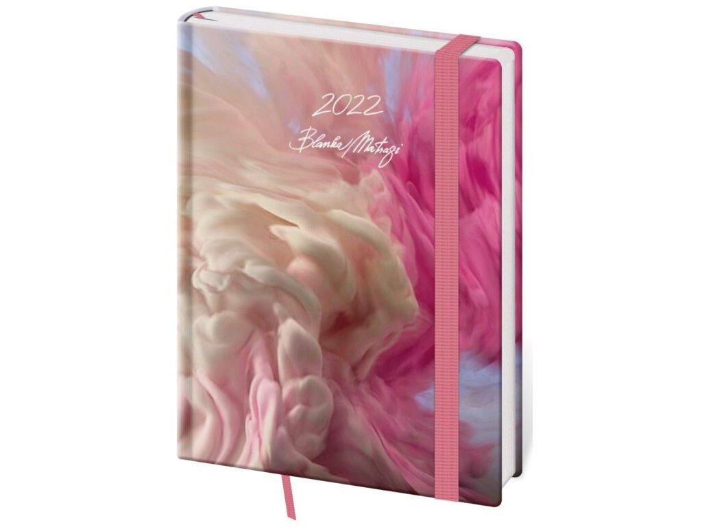 Týždenný diár B6 Vario Matragi Pink s gumičkou