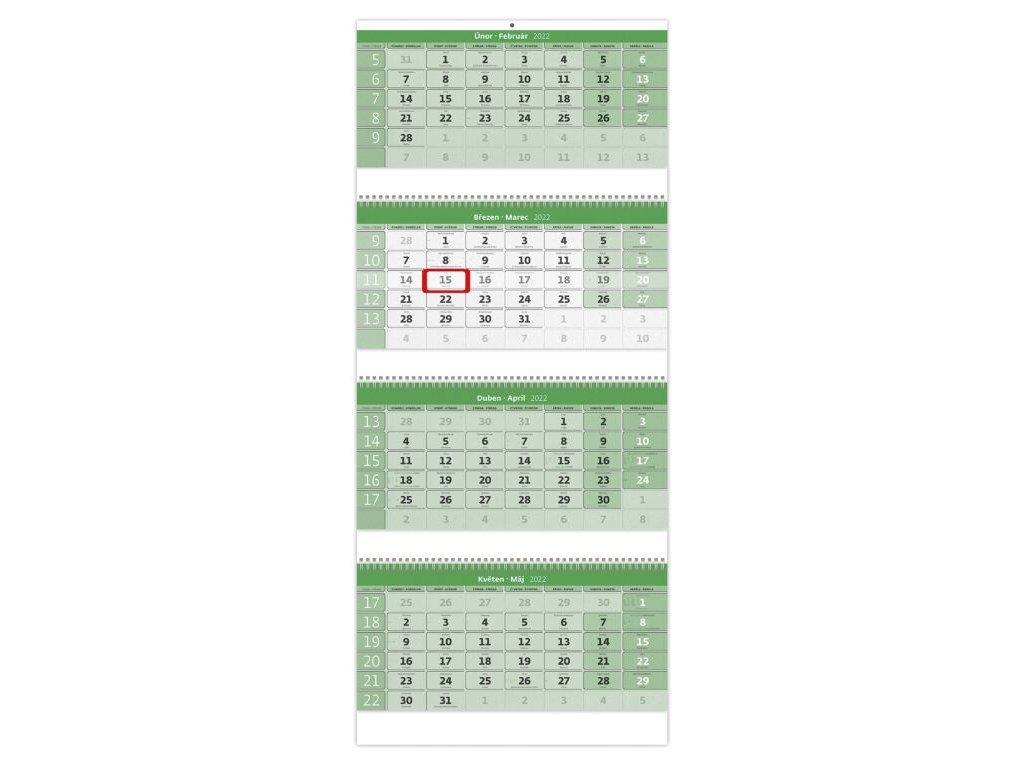 Štvormesačný kalendár GREEN na recyklovanom papieri