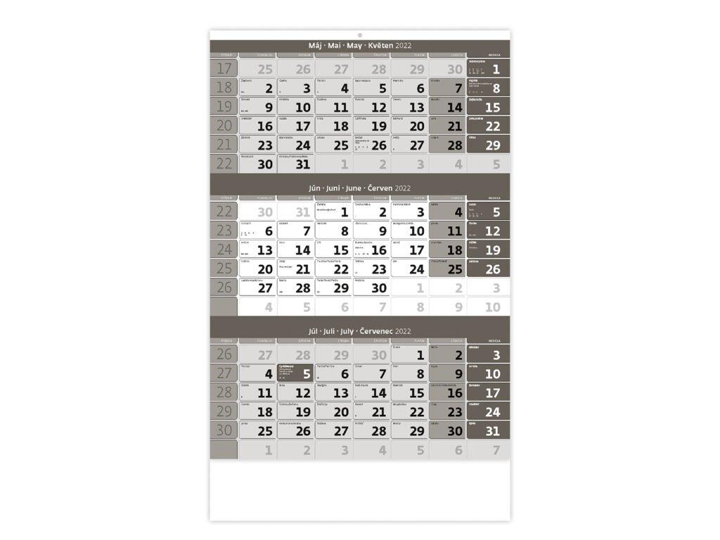 Trojmesačný kalendár šedý