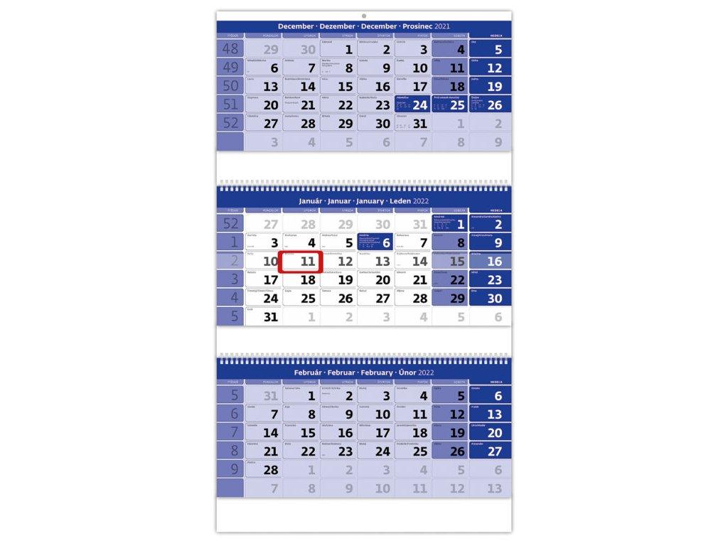 Trojmesačný kalendár modrý so špirálou