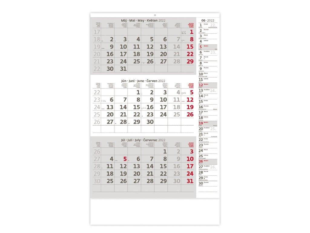 Trojmesačný kalendár šedý s poznámkami