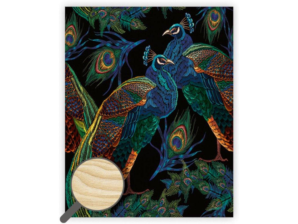 Drevený obraz Peacocks