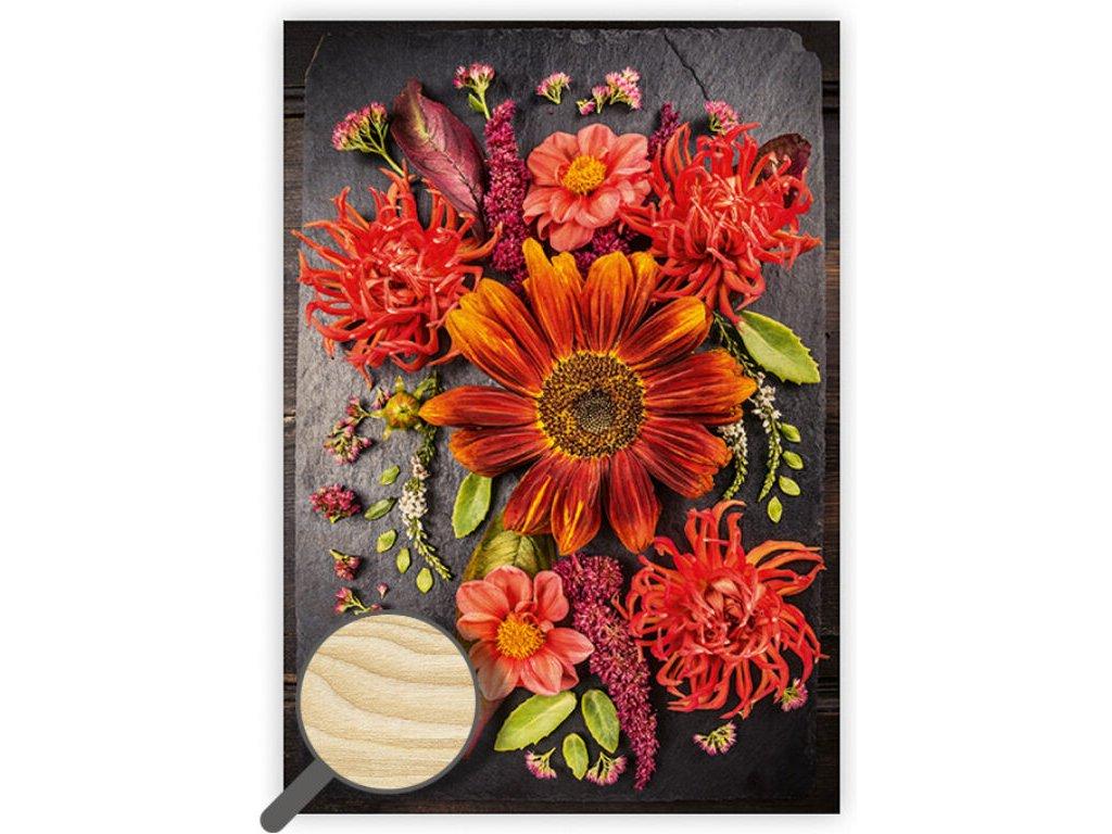 Drevený obraz Flowers