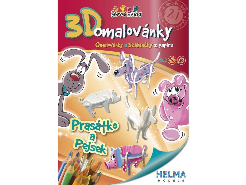 3D maľovanky Prasiatko a pes