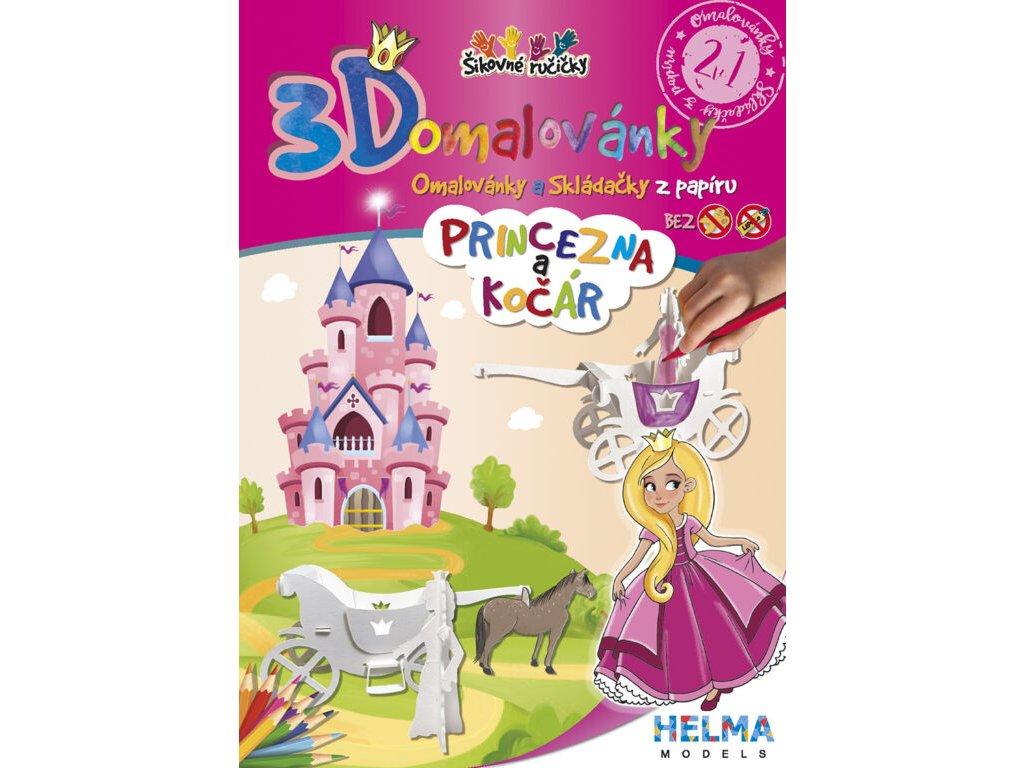 3D maľovanky Princezná a kočiar