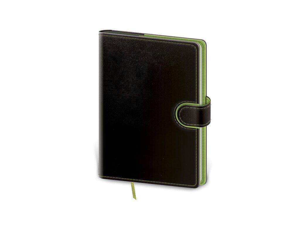 Zápisník Flip M linajkový čierno/zelený