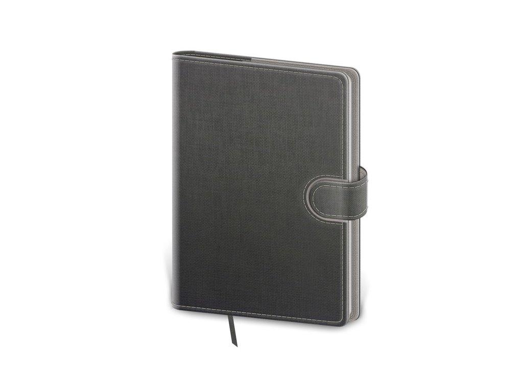 Zápisník Flip M linajkový šedo/šedý