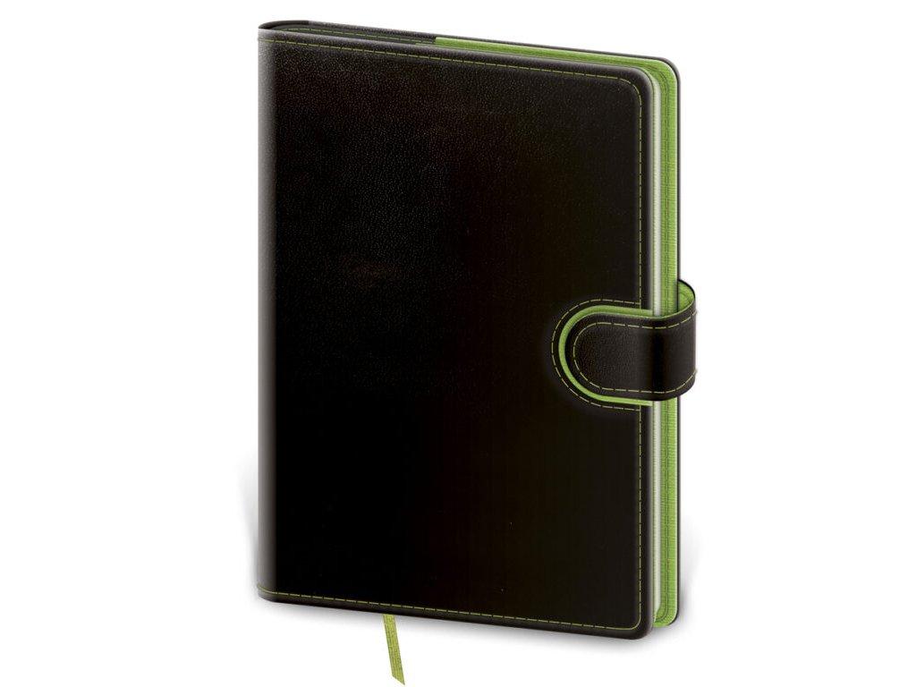 Zápisník Flip L linajkový čierno/zelený