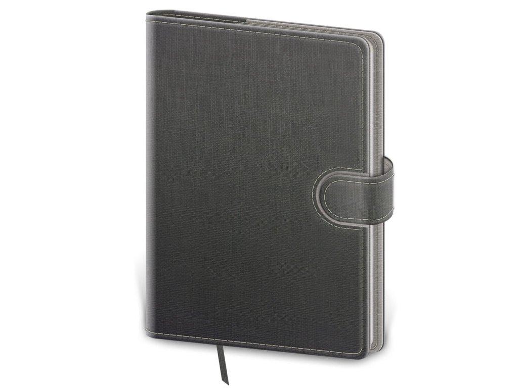 Zápisník Flip L linajkový šedo/šedý