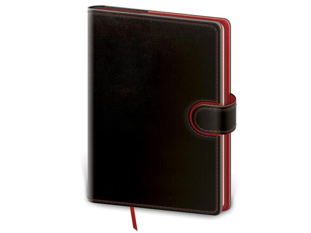 Zápisník Flip M linajkový čierno/červený