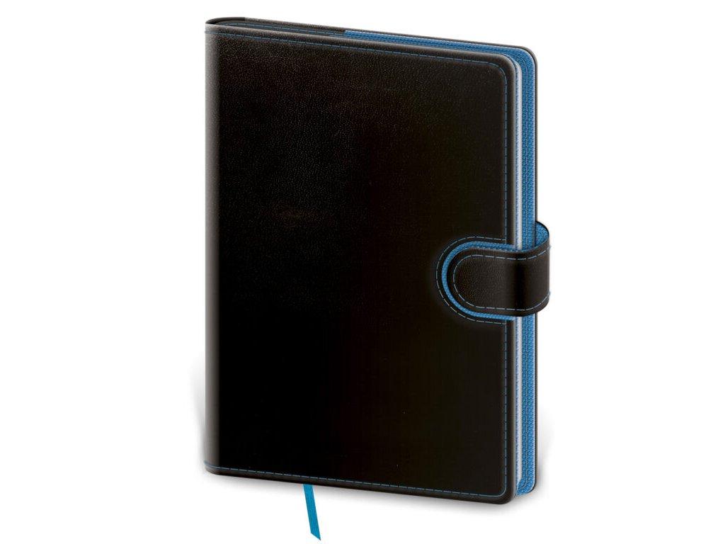 Zápisník Flip M linajkový čierno/modrý
