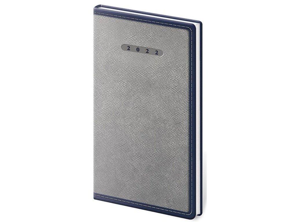 Vreckový diár Elegant šedo/modrý