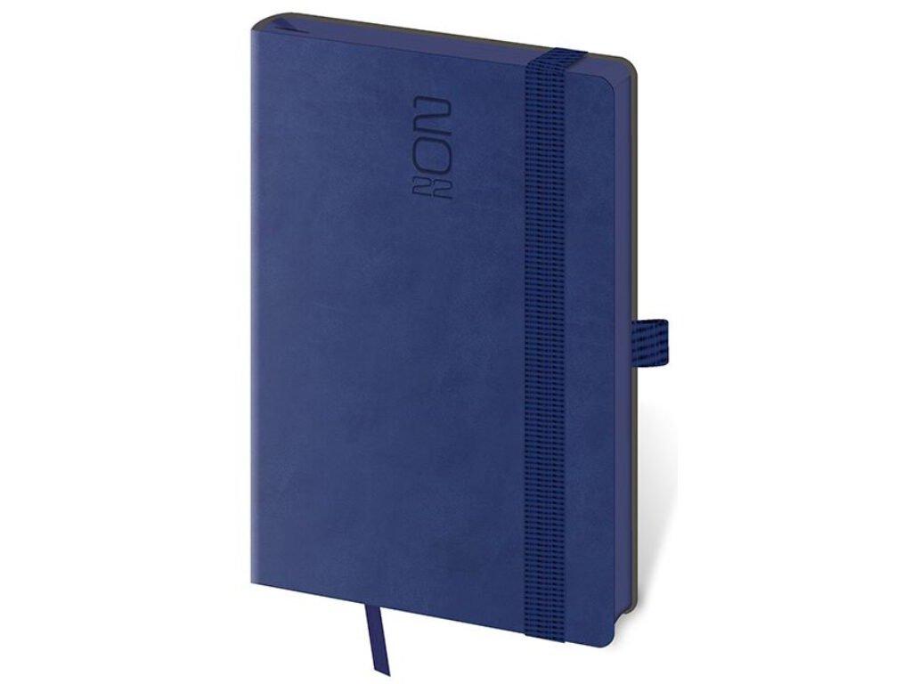 Vreckový diár Memory tmavo modrý s gumičkou