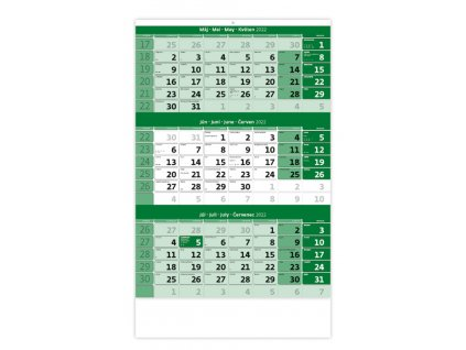 Trojmesačný kalendár zelený
