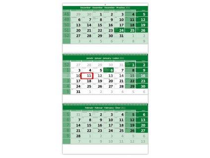 Trojmesačný kalendár zelený so špirálou