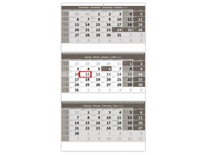 Trojmesačný kalendár šedý so špirálou