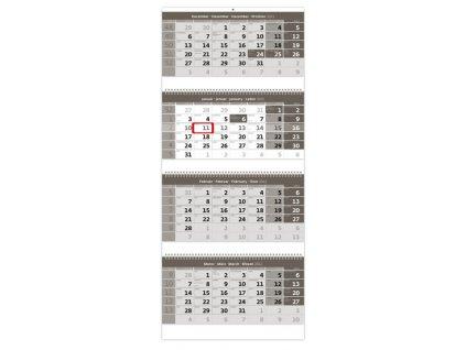 Štvormesačný kalendár šedý so špirálou