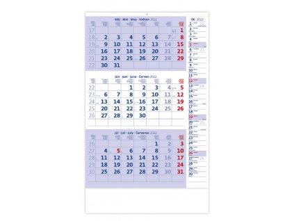 Trojmesačný kalendár modrý s poznámkami