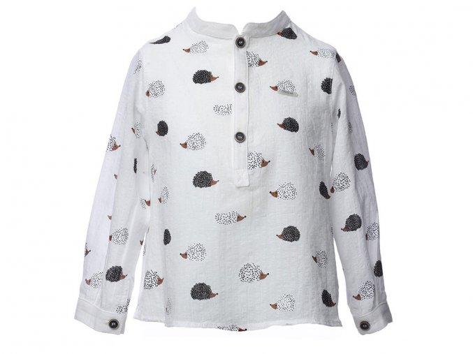 Dětská bavlněná košile bílá s  zvířátko ježeček knoflíčky Foque a