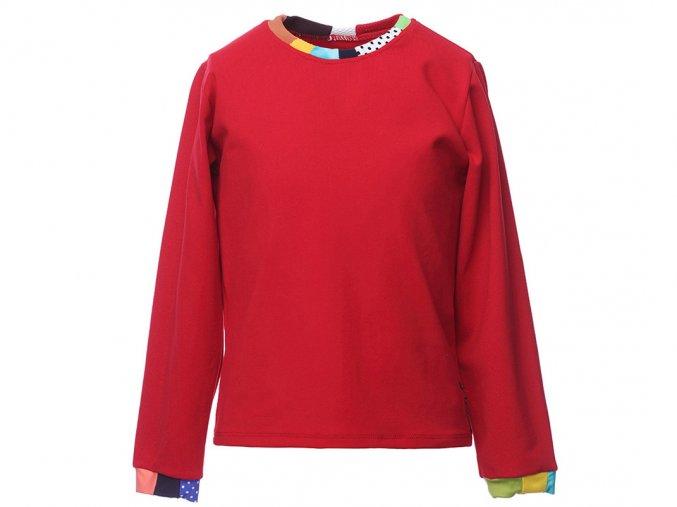 Dětské červené tričko s dlouhým rukávem barevný patchwork Barcelona art a
