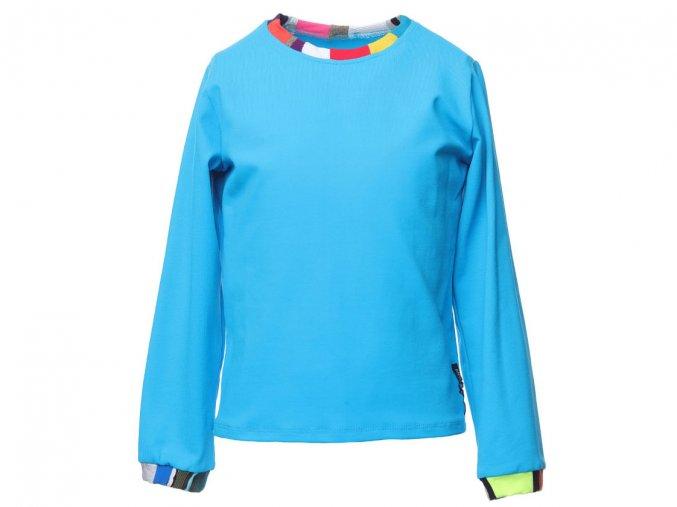 Dětské sport modré tričko s dlouhým rukávem barevný patchwork Barcelona art a