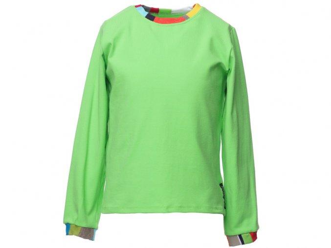 Dětské sport zelené tričko s dlouhým rukávem barevný patchwork Barcelona art a