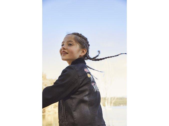 Holčičí džínová bunda černá džínska positive barevná kožíšek Boboli holka