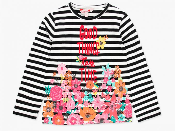 <p>Dívčí bavlněné tričko s dlouhým rukávem. Černobílá vysoce kontrastní kombinace s barevným potiskem rozzáří šedivou sezónu a monotónní outfity. </p>