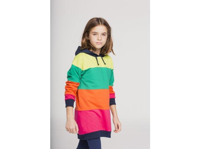 Dlouhá dívčí mikina šaty s kapucí barevné pruhy. Boboli
