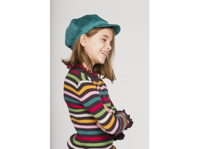 Holčičí pruhovaný svetr s volánky čokoláda barevný lentilky veselý hnědý svetr s proužky Boboli holka