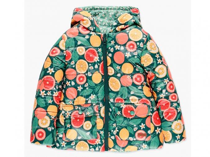 Dívčí oboustranná zimní bunda na zip s kapucí, Zateplená dutým vláknem, tedy velmi lehká, teplá a snadno se udržuje. Duhový pružný pásek. Bílé květiny vs. červený grep, pomeranč, citron na zelené.