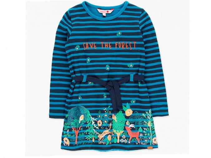 <p>Dívčí bavlněné šaty s dlouhým rukávem s lesní tématikou a nápisem zachraňte les (save the forrest)</p>