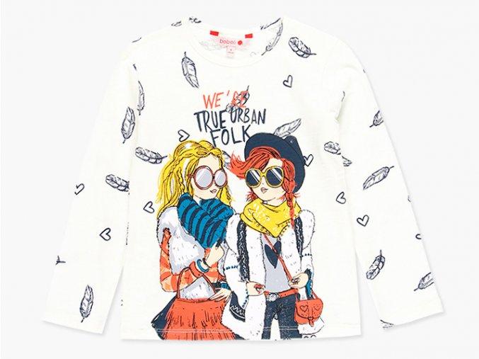 Dívčí bavlněné tričko s dlouhým rukávem, potištěné peříčky a barevným obrázkem.