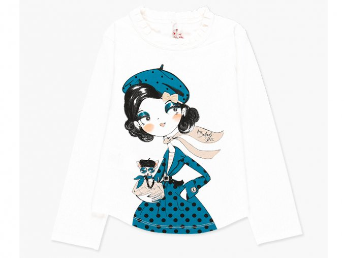 <p>Dívčí tričko s dlouhým rukávem a kulatým spodním lemem z velmi příjemného pružného úpletu ve smetanově bílé barvě. Kvalitní potisk v kombinaci shimmer, glitter, a 3D.</p><p>Kolekce Elegant</p>